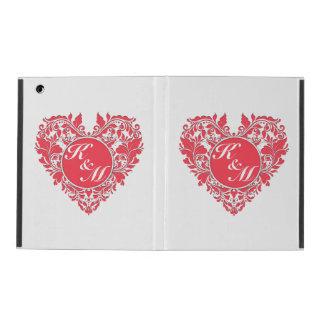 HeartyPartyのラズベリーの赤と白のダマスク織のハート iPad ケース