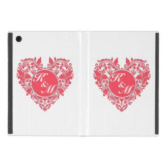 HeartyPartyのラズベリーの赤と白のダマスク織のハート iPad Mini ケース