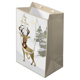 Heaven and Nature Sing Deer Christmas ミディアムペーパーバッグ