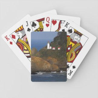 Hecetaのヘッド灯台、岬の入り江、オレゴン、米国 トランプ