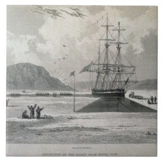 Heclaの入江からのボートの出発、1 6月21日、 タイル