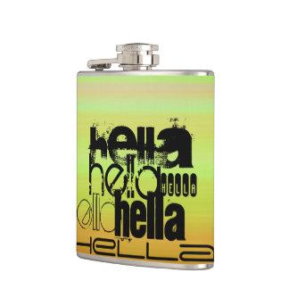 Hella; 鮮やかな緑、オレンジ、及び黄色 フラスク