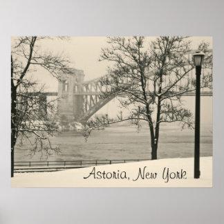 Hellgate橋、Astoria、ニューヨークポスター ポスター