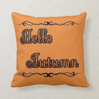 """Hello Autumn Throw Pillow (16"""" x 16"""") クッション"""