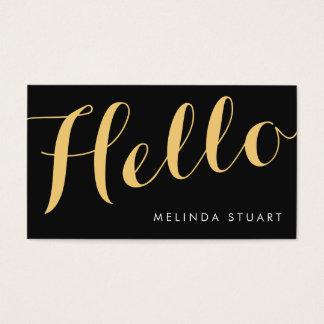 Hello|Black&Goldのエレガントなタイポグラフィのメーキャップアーティスト 名刺