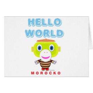 Hello World-Cute Monkey-Morocko カード