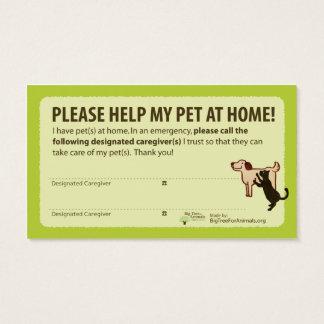 """""""HELP! I have Pets At Home"""" Pet Alert Card 名刺"""