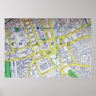 HempsteadのNYのヴィンテージの地図ポスター ポスター