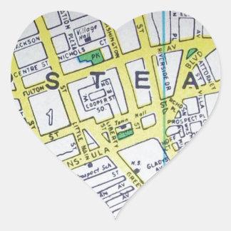 HempsteadのNYのヴィンテージの地図 ハートシール