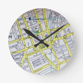 HempsteadのNYのヴィンテージの地図 ラウンド壁時計