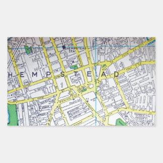 HempsteadのNYのヴィンテージの地図 長方形シール
