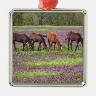 henbitの花の分野の純血種の馬 メタルオーナメント