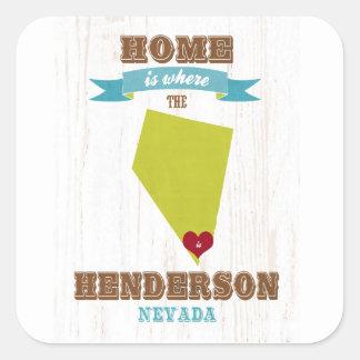 Hendersonのネバダの地図-ハートがあるところでがあります家 スクエアシール