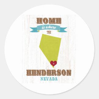 Hendersonのネバダの地図-ハートがあるところでがあります家 ラウンドシール