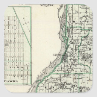 Henderson郡およびOquawkaの地図 スクエアシール