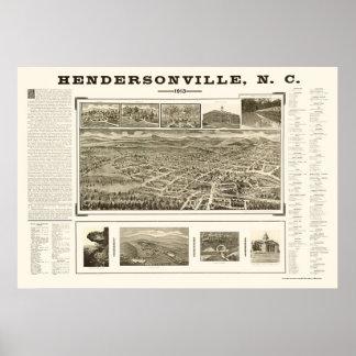HendersonvilleのNCのパノラマ式の地図- 1913年 ポスター