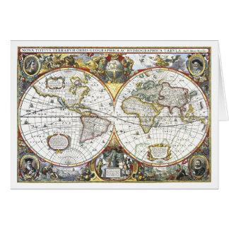 Hendrik Hondius 1630年著旧式な世界地図 カード