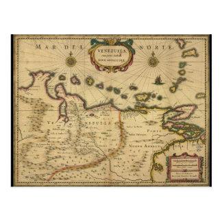 Hendrik Hondius (1630年)著ベネズエラの地図 ポストカード