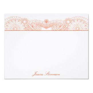 Hennaのカスタムで平らなメッセージカード(オレンジ) カード