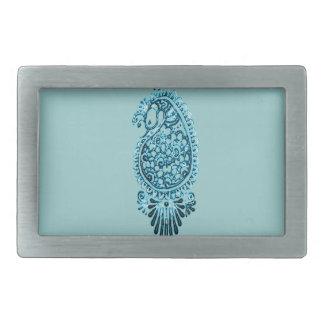 Hennaの孔雀(青い) 長方形ベルトバックル