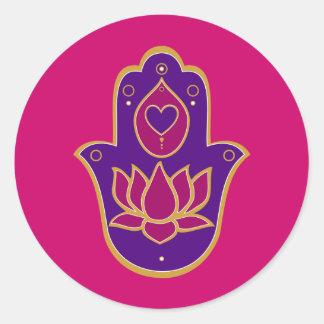 HennaのHamsaのはすピンク 丸形シール・ステッカー