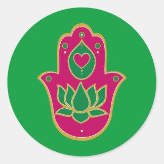 HennaのHamsaのはす緑及びピンク 丸形シールステッカー