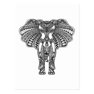 HennaのMehndiによって飾られるインドゾウ ポストカード