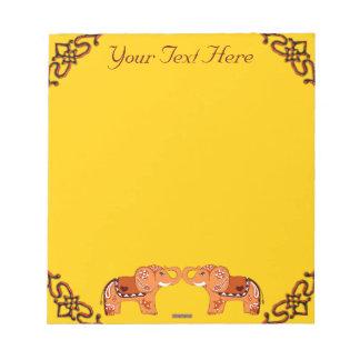 Henna象(オレンジか赤い) ノートパッド