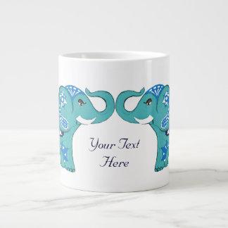 Henna象(青いですか淡いブルー) ジャンボコーヒーマグカップ
