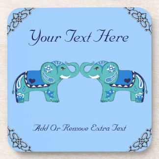 Henna Elephant (Blue/Light Blue) コースター
