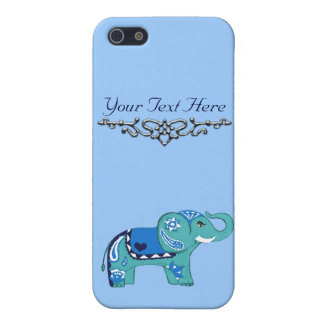 Henna Elephant (Blue/Light Blue) iPhone 5 Case