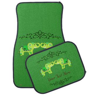 Henna Elephant (Green/Lime Green) カーマット