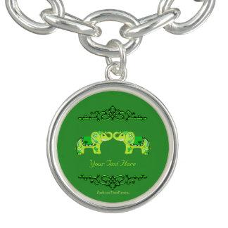 Henna Elephant (Green/Lime Green) ブレスレット