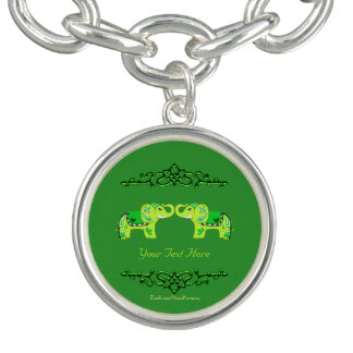 Henna Elephant (Green/Lime Green) ブレス