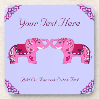Henna Elephant (Pink/Purple) コースター