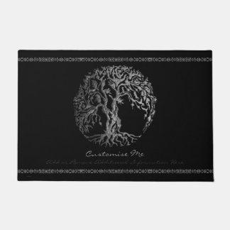 (Henna) Mehndiの生命の樹(銀) ドアマット
