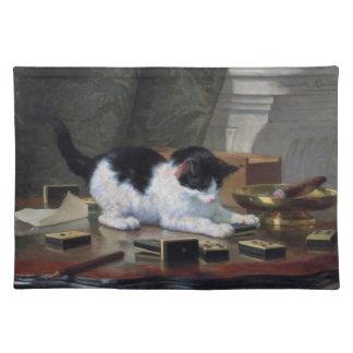 Henriëtte Ronner-Knip著子ネコを遊ぶこと ランチョンマット