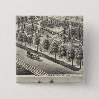 Hensleyの豆の住宅 5.1cm 正方形バッジ
