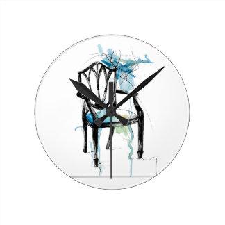 Hepplewhiteの椅子-水彩画 ラウンド壁時計