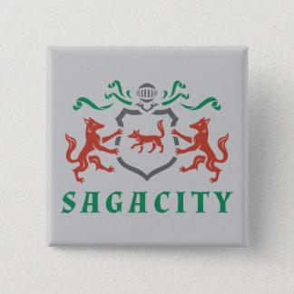 Heraldicキツネの紋章 5.1cm 正方形バッジ