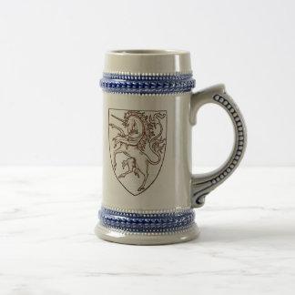 Heraldicスタイルのユニコーンステイン ビールジョッキ