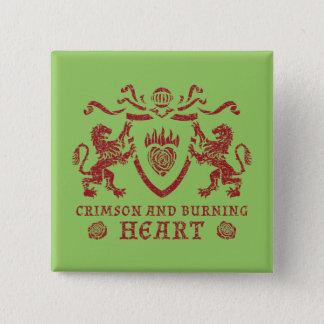 Heraldicハートおよびライオンボタン 5.1cm 正方形バッジ