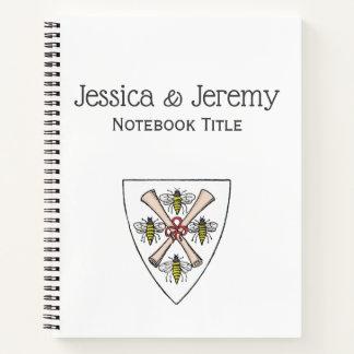 Heraldicヴィンテージ盾の頂上の重量の4つの蜂スクロール ノートブック