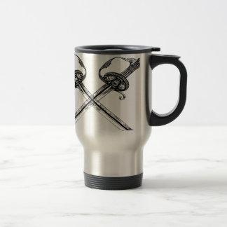 Heraldic剣のイラストレーションのデザイン トラベルマグ