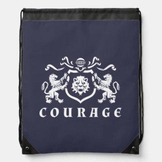 Heraldic勇気の白いライオンの紋章 ナップサック
