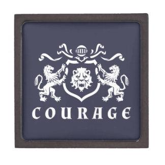 Heraldic白いライオンの勇気の紋章 ギフトボックス