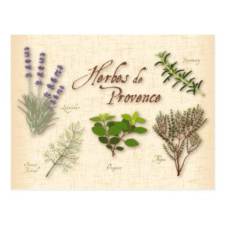 Herbes deプロバンスのレシピ、ラベンダー、タイム、 ポストカード