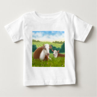 Herefordの牛および子牛 ベビーTシャツ