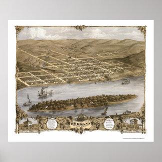 HermannのMOのパノラマ式の地図- 1869年 ポスター
