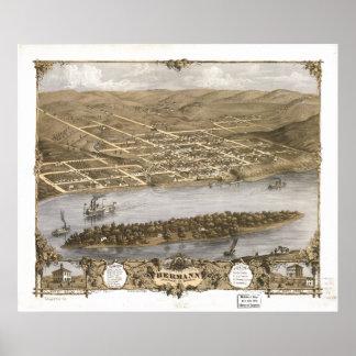 Hermannミズーリ1869の旧式なパノラマ式の地図 ポスター